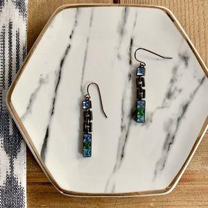 Green & Blue Stone Drop Earrings